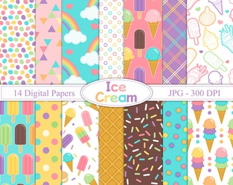 Ice cream papers-  Digital Paper Set - Icecream