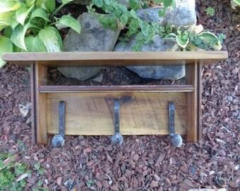 "Reclaimed Barnwood 3 hook bent ""J"" Railroad Spike coatrack with shelves hatrack barn wood coat rack"