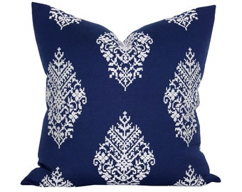 Zinda Embroidery pillow cover in Navy