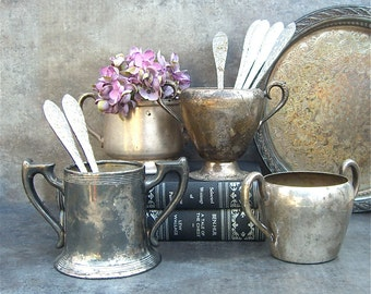 4 Vintage Silver Sugar Bowls, Instant Collection, Shabby Chic Rustic Engraved Silverplate, Repouse, Handled Containers, Unique Storage