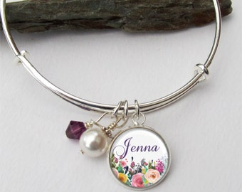 Bridesmaid Gift, Personalized Bridesmaid Bracelet, Name Charm Bracelet