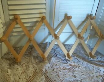 vintage wood wall hanging 13 hook peg rack, expandable accordion style, necklace jewelry organizer, multi use