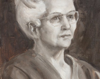 vintage original painting of older lady on canvas board