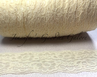"Elastic Lace, 2"", IVORY, Lace by the yard, Stretch Lace, FOE Elastic, Lace Trim, Elastic Headband, Stretch Elastic, Headband Lace"
