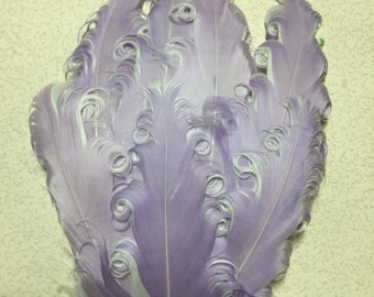 Two Toned Lavender and White Nagorie Feather Pad, Curly Nagorie Feather Pad, Goose Feather Pad, DIY Feather Pad for Headbands