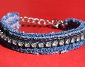 Bracelet - Denim and Diamonds - Vintage Rhinestones and Recycled Denim