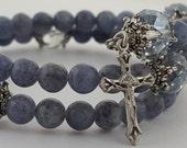 Rosary Bracelet, Blue Aventurine Gemstone, Blue Luster Glass, Scapular Medal, Strong Stainless Steel, Five Decade, Wrapped Rosary Bracelet