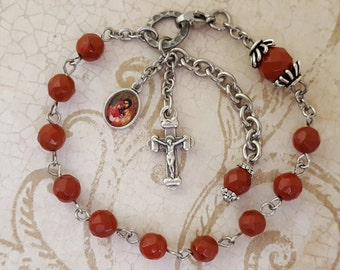 One Decade Rosary Bracelet, Holy Family Medal, Red Jasper Gemstones, Strong, Stainless Steel, Handcrafted, Gemstone Rosary, Catholic Jewelry