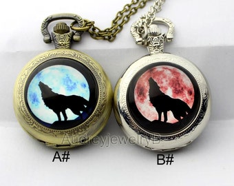 1pcs Wolf Watch Pendant with chain /pocket watch/Bridesmaid Christmas gifts friends children's gifts Valentine's Day