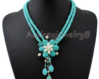 Turquoise pearl flower necklace Statement Necklace Chunky Necklace Turquoise Necklace bib Necklace Bridesmaid Jewelry