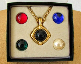 vintage 90s kenneth jay lane interchangeable necklace 6 looks gold tone signed