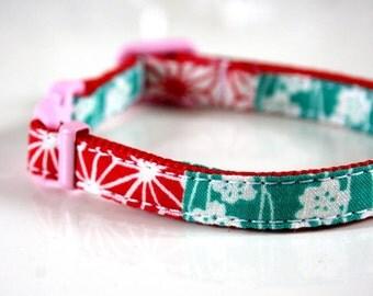 Japanese kimono striped Breakaway Safety Cat Collar - pink, green, red