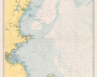 1951 Nautical Chart of The New England Coastline