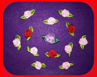 Red  Pink Lavender Rose Miniature Small Set 13 Appliques Embellishments Satin Fabric Ribbon