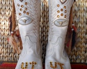 Sale Vintage Cowgirl Boots University Teams Spirit Custom Handmade Gems, Fringe and Feathers