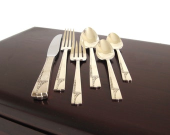 Silver Flatware Set Art Deco Silverware Antique Silverplate Complete Service for 6 (w/ optional Wood Chest) Nobility Plate Caprice 1930s