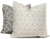 Schumacher Greige Tumbling Blocks by Miles Redd  Decorative Pillow Cover 18x18, 20x20, 22x22, Euro, Lumbar pillow, Accent Pillow