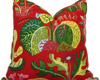 Schumacher Exotic Butterfly in Red Decorative Pillow Cover 18x18, 20x20, 22x22, Eurosham, Lumbar Pillow, Josef Frank, Mid century