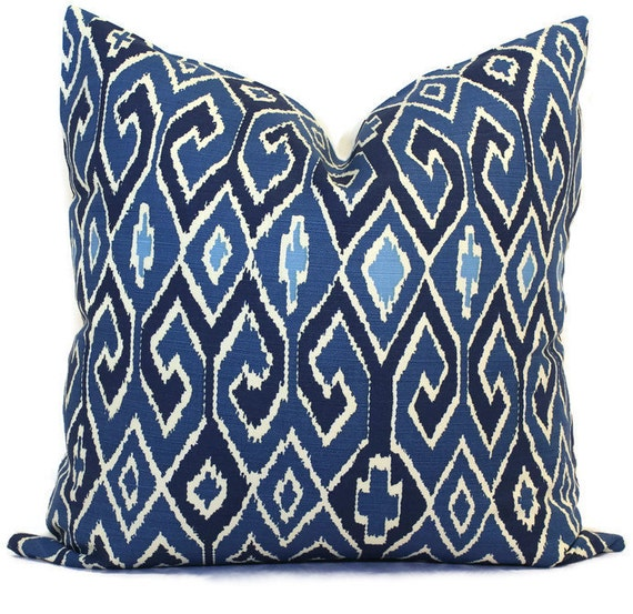 Queen Throw Pillows : Blue Ikat Pillow Cover Quadrille China Seas Aquarius Square