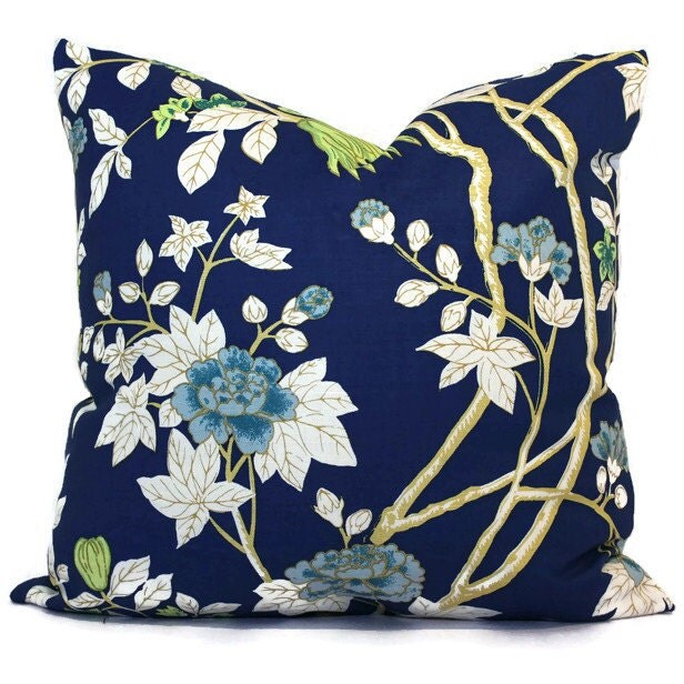 Queen Throw Pillows : Blue Happy Garden Pillow Cover Quadrille China Seas Aquarius