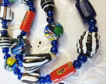 Vintage Venetian Murano Glass Beads Strand Millefiore Cobalt Swirl Mix Handmade Art DIY Jewelry Supplies