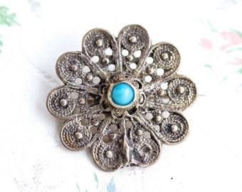 Dainty Filigree Flower with Turquoise - Antique Patina Brooch