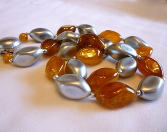 Amber Silver Lucite Necklace, 1960s Flapper Necklace, Vintage Lucite Jewelry