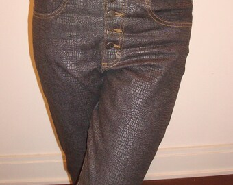 Faux crocodile print leather jeans
