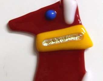 Dog with Scarf Fused Glass Ornament