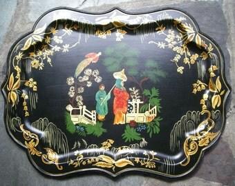 Antique Large Tole Toleware Tray Geisha Chinoiserie Primitive Folk