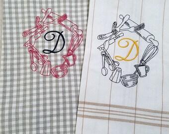 Monogrammed Kitchen Utensil Wreath. Kitchen Towels 100% Cotton, Machine Embroidery, Hostess Gift, Wedding Gift, Teacher Gift Cook Gift