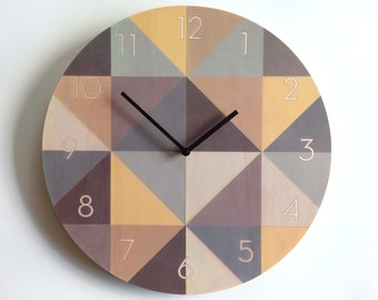 Objectify Beige Grid With Neutra Numerals Plywood Wall Clock - Large