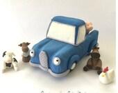 Fondant LITTLE BLUE TRUCK cake topper by Cupcake Stylist