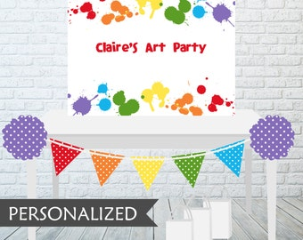 Printable Art Party Backdrop - 3x4 ft. Personalized Printable Party Poster for Art or Paint Themed Parties .. ap02