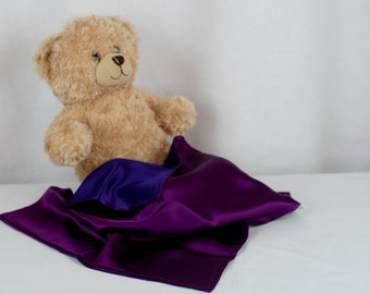 Silk Lovey, Plum & Purple, Baby and Toddler Security Blanket, 100% Mulberry Charmeuse Silk 19mm