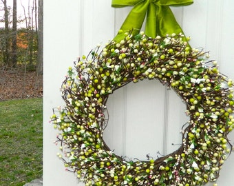 Spring Wreath - Door Wreath - Berry Wreath -Year Round Wreath - Choose Bow