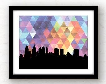 Philadelphia skyline | Philadelphia art print | Philadelphia love | geometric art | geometric print | Philadelphia, Pennsylvania art