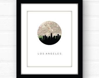 Los Angeles map print | Los Angeles print | Los Angeles wall art | California wall art | Beverly Hills | Santa Monica | Hollywood