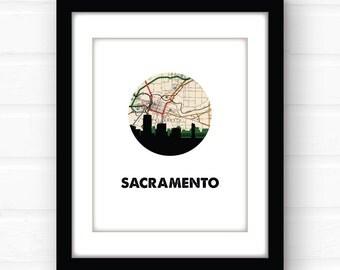 Sacramento map print | Sacramento, California wall art | California print | city skyline print | travel poster | California home decor