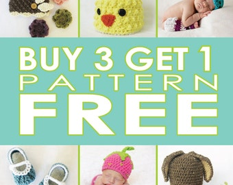 Buy any 3 Patterns, get 1 more free, crochet baby pattern deal, pattern combo, crochet pattern sale, PDF pattern