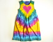 Girls Tie Dye Dress / Pink Rainbow Heart / Sleeveless Tank or Jumper  / Front Pockets / Perfect Back to School Dress / Eco-friendly Dyeing