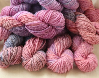 Hand dyed yarn. 50gms, DK in pink, blue and purple.