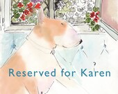 Reserved for Karen Ready Matted Print Bull Terrier Art Mounted Prints Ready to Frame