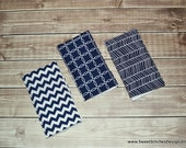 Baby Boy Burp Cloths - Boy Burp Cloth Set Navy Blue Boy Burp Rags Herringbone