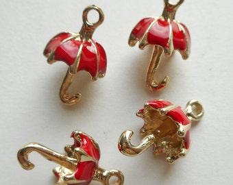 6pcs-3D red Umbrella charm -enamel charm