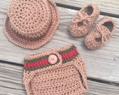 Newborn Crochet Boy GUCCI Inspired Hat, Diaper Cover and Boat Shoes Set ~ Super Cute Photo Prop