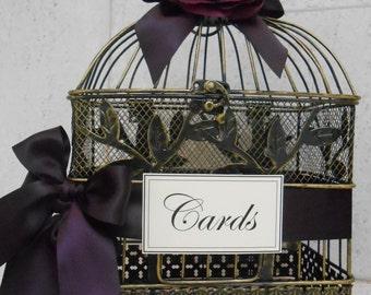 Small Birdcage Wedding Card Holder / Eggplant Purple Birdcage Card Holder / Wedding Card Box / Small Birdcage Card Holder / Wedding Decor