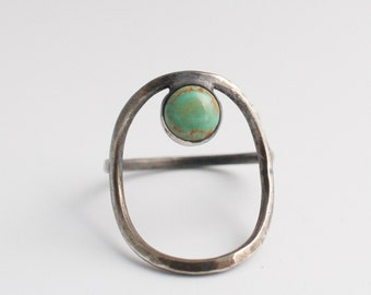 turquoise open circle ring, sterling silver minimalist geometric, negative space jewelry, bohemian, southwestern, old pawn style