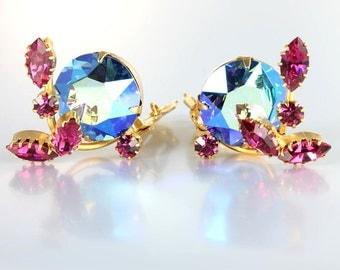 Juliana Earrings, Violet Blue Pink Rhinestone Flower Earrings, vintage jewelry