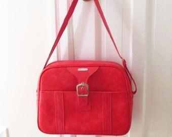 Vintage Red Samsonite Carry On Computer Bag Overnight Bag 1960s